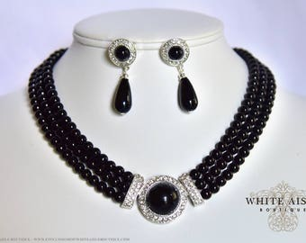 Black Pearl Bridal Jewelry Set Crystal Multi Strand Wedding Necklace Earrings Vintage Inspired Prom Evening Pageant Jewelry
