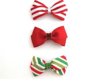 Christmas Hair Bows Set ~ Baby, Toddler, Girls Christmas Hair Clips ~ Glitter Hair Bows