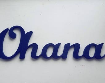 Ohana Family Wooden Sign, Connected Letters, Navy Blue or Other Colors, Living Room Decor, Entryway, Hawaiian decoration