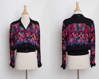 80s 90s floral rayon blouse jacket