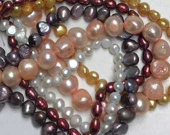 Freshwater Pearl Mixed Lot, Assortment of 5 Strands, Freshwater Pearl Assortment, Bead Destash