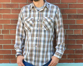 Mens vintage LEVIS Levi Strauss & Co plaid western Oxford button up // size large