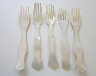 5 vintage MOP forks - caviar forks - mother of pearl forks