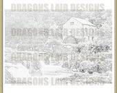 INSTANT DOWNLOAD - Advanced Colouring Scenic 3 - Digital Stamp - river water trees scenic water mill mill house