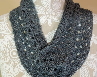 hand knit gray cowl with beads