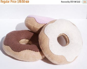 ON SALE Donuts with vanilla, strawberry and chocolate icing- set of three