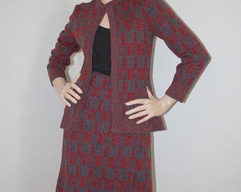 Vintage 1960s Italian Designer Suit / 60s Gino Paoli Red and Grey Plaid Wool Knit Skirt Jacket Set / Mad Men Wool Skirt Suit