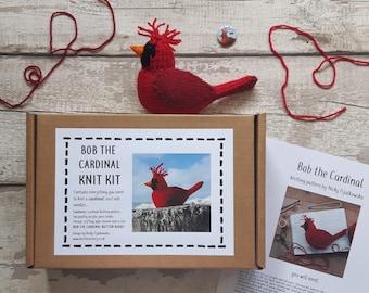 Northern Cardinal knit kit - cute cardinal knit kit with bird knitting pattern, yarn and button badge pin!