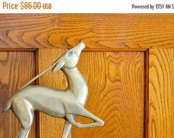 SALE 25% OFF vintage hollywood regency brass gazelle figurine