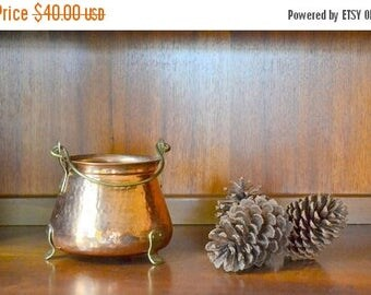 CIJ SALE 25% OFF vintage copper and brass cauldron pot / halloween decor / fall autumn copper