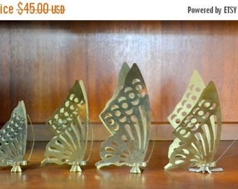 CIJ SALE 25% OFF vintage brass butterfly figurines / spring home decor / brass butterflies / brass home accent decor / mothers day / mom