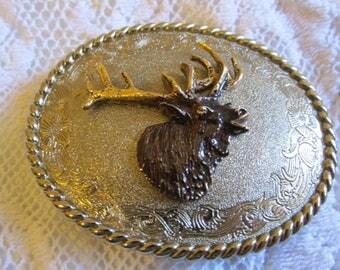 Vintage Large Heavy Elk Buck Deer Mens Belt Buckle