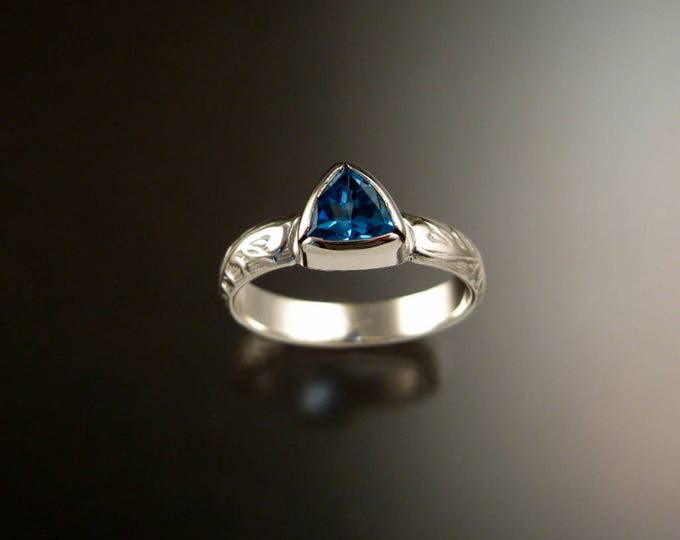 Blue Topaz ring Sterling Silver Triangle Stone with bezel setting Victorian Floral pattern ring made to order in your size