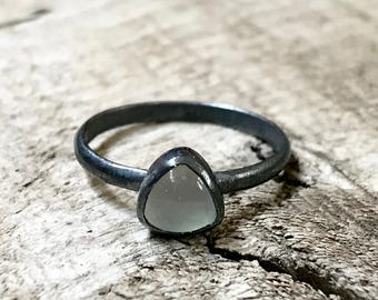 Light Aqua Blue Trillium Chalcedony Sterling Silver Ring | Dark Silver Ring | Chalcedony Ring | Geometric Chalcedony Ring | Gifts for Her