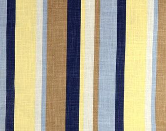 Blue Yellow Striped Fabric