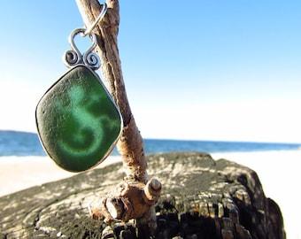 Green Beachglass Sterling Silver Lizard Pendant