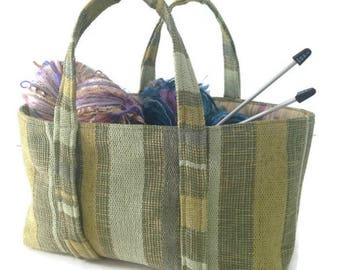 Small Knitting Bag Green Stripe Woven Bag Upholstery Tote Sock Knitters Bag Lined Bag Small Tote Inside Pocket Project Bag