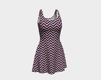 Pink Chevron Skater Dress | Size XS S M L XL | Bold Design Pattern | Party Dancing Ice Roller Skating | Short Fitted Sleeveless Mini Dress