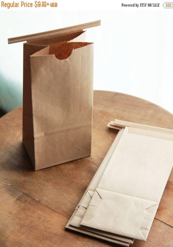 ON SALE 1/2 Pound Kraft Tin Tie Coffee Bags Set of 20-  Custom label printing available