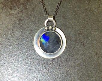 Labradorite Blue Flash Cabochon Sterling Silver Metalwork Necklace