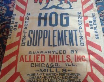 Vintage Feedsack Feed Sack Hog Pigs Wayne Chicago Illinois