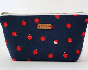 Personalized Toiletry Bag, Monogrammed Makeup Bag, Apple Pouch, Standup Zipper Pouch, Small Makeup Pouch, Cosmetics Storage, Travel Bag