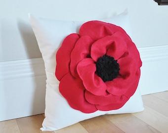 Poppy Pillow - Red Flower Throw Pillow - Remembrance Gift - Flower Nursery - Decorative Pillows