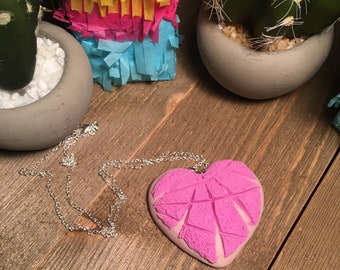 Pink Concha Heart Necklace
