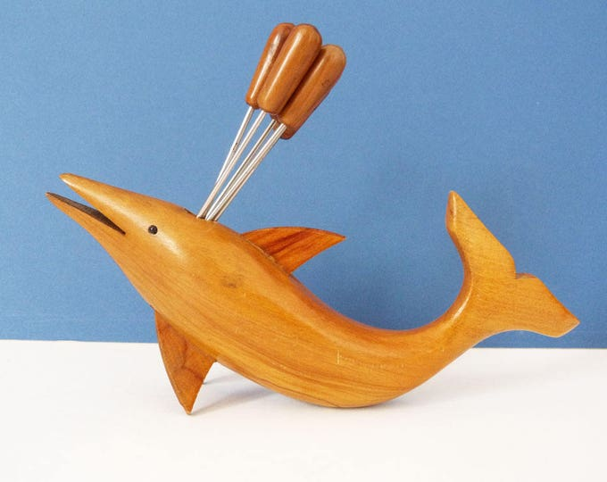 Vintage wooden Dolphin cocktail forks