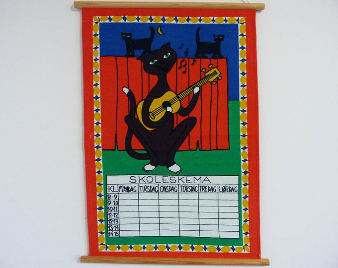 Vintage Danish School timetable wall hanging