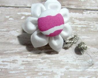 White & Hot Pink Zebra Retractable Badge Reel, Lanyard, ID Holder, Badge Holder, Kanzashi Badge Reel, Badge Lanyard, Auburn