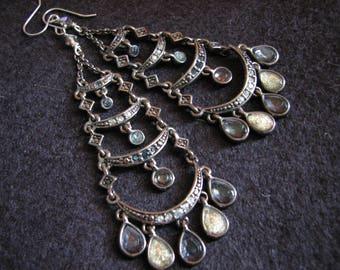 Chandelier earrings silver | crescent moon | long earrings | dangle | bohemian | moon earrings