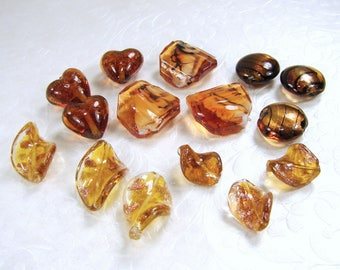 Lot Amber Gold Copper Glass Beads Large Lampwork Puffed Foil Heart Pillow Twisted Leaves Leaf Venetian Murano Style Necklace Bead 25mm