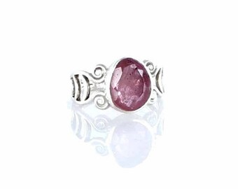 Summer Sale : ) RING PINK SAPPHIRE Faceted Sterling Sze 6 New World Gems