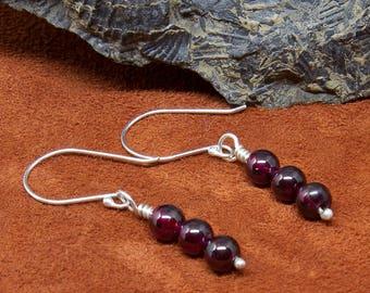 Garnet and Sterling Silver Dangle Earrings,Women's earrings, Stone Earrings, Purple Earrings, Gemstone Earrings, Stone  E300