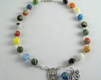 Saint Christopher Auto Rosary featuring Multi Colored Millefiori Beads (03)