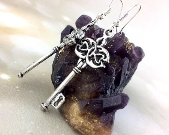 Sterling Silver Key Earrings