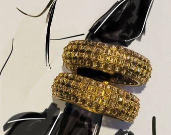 Crystal hinged bangles