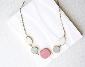Bib Necklace, Pastel Jewlery, Pink, Brass, Grey, White, Geometric Czech Glass Jewlery, Multicolor, Gold Tone