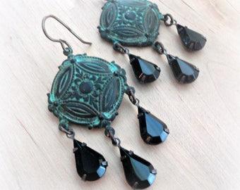 Chandelier Drop Earrings - Bohemian Earrings - Gypsy Earrings - Long Dangle Earrings - Rhinestone Earrings - Chandelier Earrings - Romantic