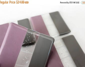 FLASH SALE FUSED Glass Coasters - Purple Lavender Gray Drink Coasters, Under 25, Fused Glass, Wedding Gift, Bridal Shower Gift, Glass Drink