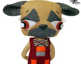 Felt pug doll dog carlin boy doll handmade ooak art doll decoration PUGTERSON