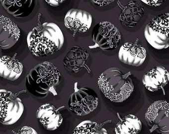 Fright Night from Henry Glass Fabrics - Full or Half Yard Halloween Pumpkins in Gray and White on Black