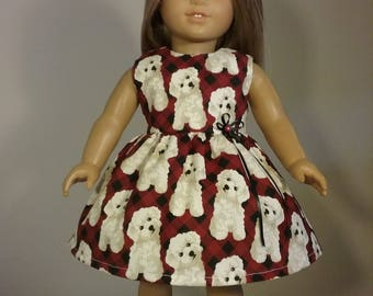 18 inch Doll Clothes Fluffy White Dog Print Dress will fit American Girl Doll Clothes Handmade