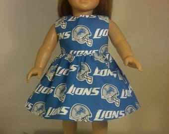 18 inch doll Clothes Handmade Lions Football Print Dress fits American Girl Doll Clothes