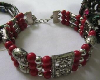 Set of Three Beaded Vintage Bracelets Costume Jewelry
