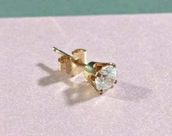 Single Stud Earring 14k Yellow Gold Round Clear Cubic Zirconia One Gold Stud Earring for Extra Ear Hole One Single 14k Gold Stud Earring