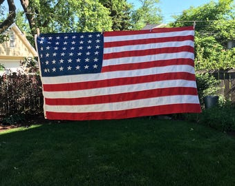 Vintage 48 star US flag, cotton, bunting, American