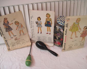 Vintage Simplicity Patterns, 1940's - Girls dresses, #4941, #3148 and #4484