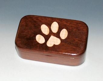 Curly Maple & Jarrah Wooden Trinket Box With Paw Print -Jewelry Box,Small Wood Box, Keepsake Box,Paw Print Box,Dog Lover Box Pet Box,Cat Box